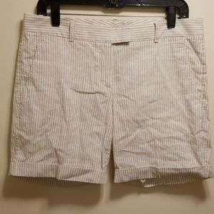 Theory tan/white striped shipmate cuffed shorts-8